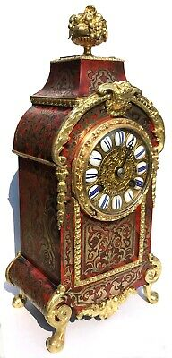 Antique Ormolu French Boulle Mantel Bracket Clock With Red Shell And Brass Inlay