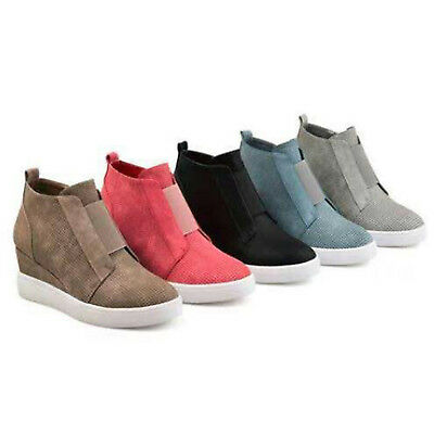 Womens Hidden Wedge Mid Heels Ankle Boots Sneakers Zipper Trainer Casual Shoes