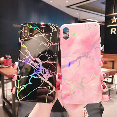 For iPhone X 7/8 Samsung Shiny Marble Iridescent Holographic Soft Silicone Case