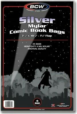 Silver Mylar Comic Book Bags 4 mil Pack of 25 BCW Archival Polyester Semi Rigid