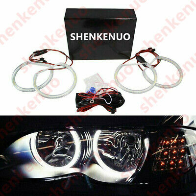Halogen Headlight White LED Angel Eyes Halo Rings For BMW E46 3 Series w/Non-HID