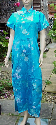 Beautiful WHITBY Turquoise Blue Satin Look Full Length Kimono Dress Size 42 New