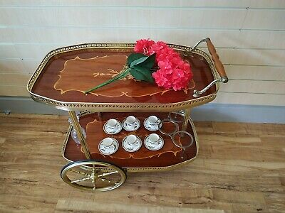 Italian Style Drinks Trolley Bar Cart Vintage Hostess 2 Tier Marquetry Trays Gin