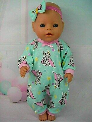 """Dolls clothes for 17"""" Baby Born~Cabbage Patch Doll~DUMBO ELEPHANT MINT JUMPSUIT"""