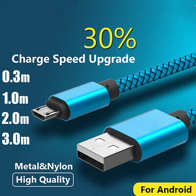 Braided Micro USB Data Cable Charger Fast Charging Lead for Android Long Length