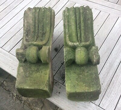 Large Antique Carved Stone Corbels X Pair Victorian