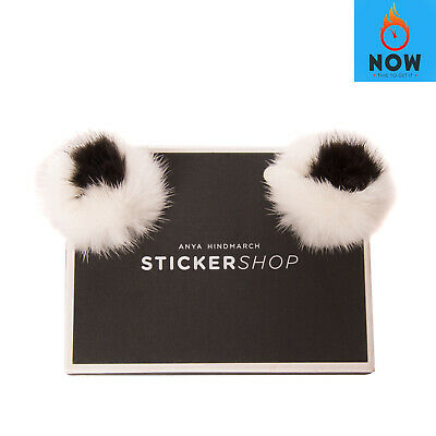 RRP €200 ANYA HINDMARCH Mink Fur Eyes Stickers Leather Logo Detail Made in Italy