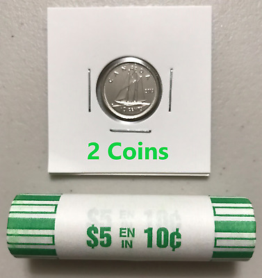CANADA 2019 New 2x 10 cents DIME ORIGINAL BLUE NOSE (UNC from mint roll)