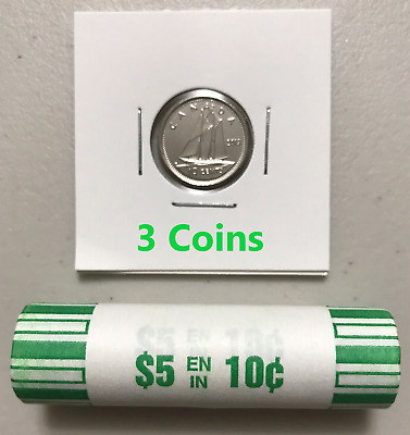 CANADA 2019 New 3x 10 cents DIME ORIGINAL BLUE NOSE (UNC from mint roll)