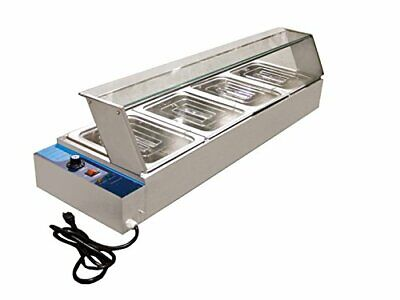 New Hot Food Bain Marie 4 X 1/2Gn Tray+Poly Cover Glass Display Warranty