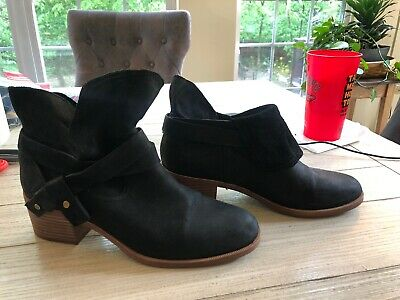 d73202420c2 UGG ELORA BLACK Suede/Leather Stacked Heel Women Boots 1019148 Us 8 ...