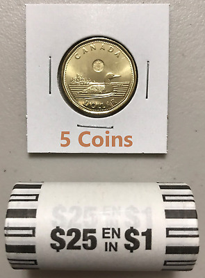 CANADA 2019 New 5x $1 LOONIE ORIGINAL COMMON LOON (UNC Directly from mint roll)