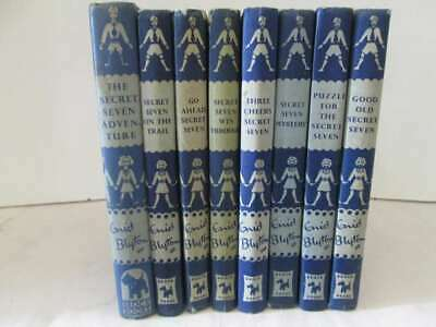Secret Seven Enid Blyton 8 Editions with Dark Blue Covers No Dust Jackets