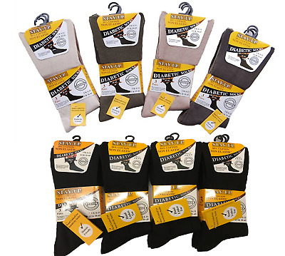 Mens Stay Up Cotton Non Elastic, Diabetic Socks, Hand Linked Toe  6-11 Black BNG