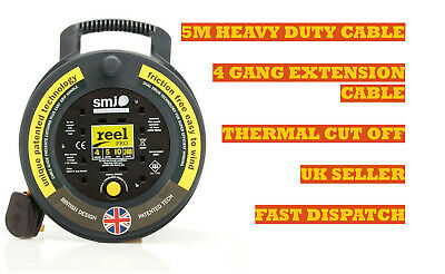 5M - 4 Way Extension Gang Socket Reel ¦ Heavy Duty Electrical Mains Lead ¦ CHEAP