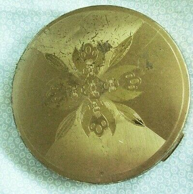 vintage Elgin-American powder compact, Etched flora, gold colored, mirror