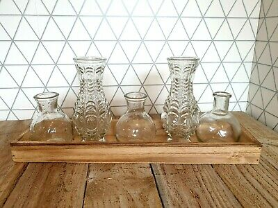Set of 5 Pretty Vintage Decorative Glass 5 Mini Vases & Tray Window sideboard