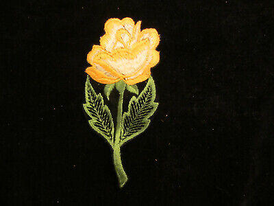 "YELLOW ROSE APPLIQUE vintage 70s SEW ON PATCH  NOS approx. 6-1/8"" x 3"""