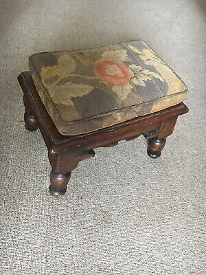 Antique Oak Joint Footstool with Tapestry Cushion