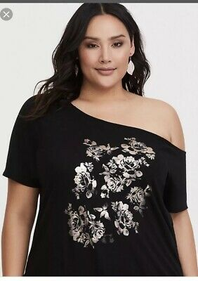 2ee5f1a969f TORRID OFF SHOULDER Top Ruffle Detail Ribbed Heather Gray Size 6 6X ...