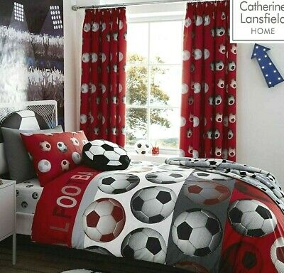 Catherine Lansfield Football Red Quilt Cover Boys Girls Bedding Set # FREE P&P #