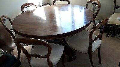 Regency mahogany William IV dining table,  6 balloon back chairs circa 1810-20