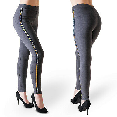 Damen Leggings Stoffhose Stretch Hose Leggins Treggings Hoher Bund Schwarz Blau