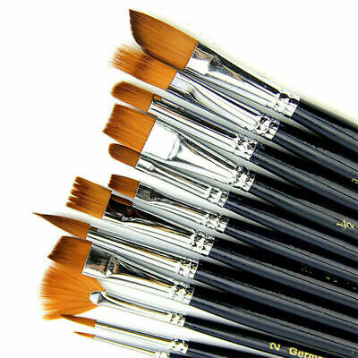 12pcs Artist Paint Brushes Set Nylon Hair Watercolor Acrylic Oil Painting  C2F8