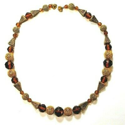 Vintage Art Deco Bohemian Necklace Amber Faceted Beads Unique Filigree Beads