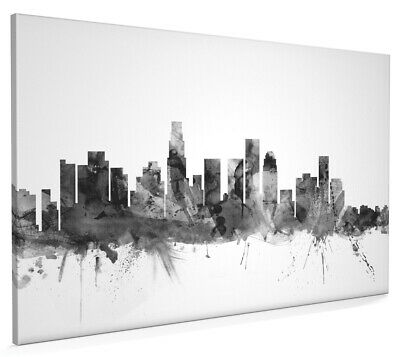 Los Angeles California Skyline Watercolour Box Canvas and Poster Print (1528)