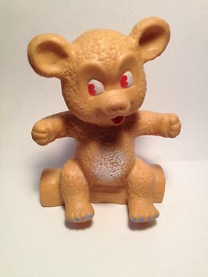 """Old hard to find 4.25"""" tall Teddy bear squeaky toy"""