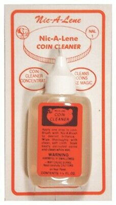 Nic A Lene Coin Cleaner For US Pennies & Nickels 1 1/4 Oz Bottle FREE USPS
