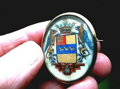 Fine Antique 19Th C Hand Painted Armorial Crest Brooch Griffins, Crown, Shield