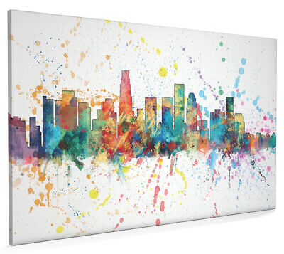 Los Angeles California Skyline Box Canvas and Poster Paint Splashes (1962)