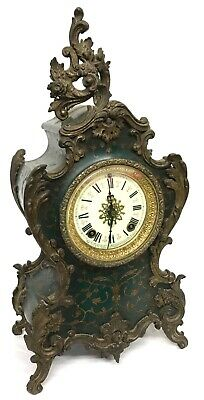 Antique Ormolu Ansonia New York Boulle Style Mantel Bracket Clock Green Case