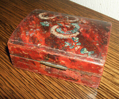 Antique trinket box, 18th century. Well used, wooden box, small