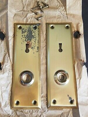 Vintage Brass Plated Door Knob Skeleton Keyhole Plate Escutcheon Cover A6