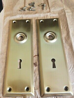 Vintage Brass Plated Door Knob Skeleton Keyhole Plate Escutcheon Cover A2