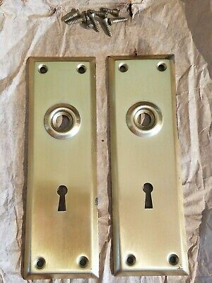 Vintage Brass Plated Door Knob Skeleton Keyhole Plate Escutcheon Cover A3
