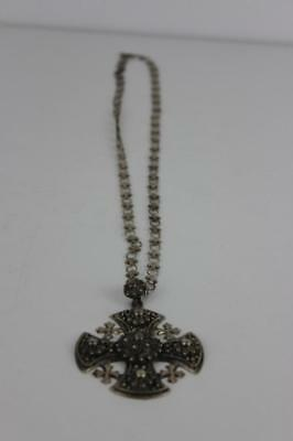 950 Silver Marcasite Orthodox Cross Pendant Necklace 42g Stamped Silver 95