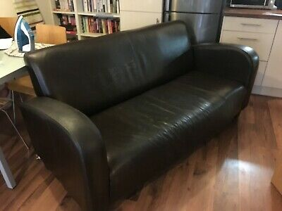 Art Deco Style Black Leather 2 Seater Sofa 1930's style timeless design.