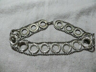 Ant.Victorian 1880's Silver Repousse Ornate Open Disk Ball chain Collar Necklace