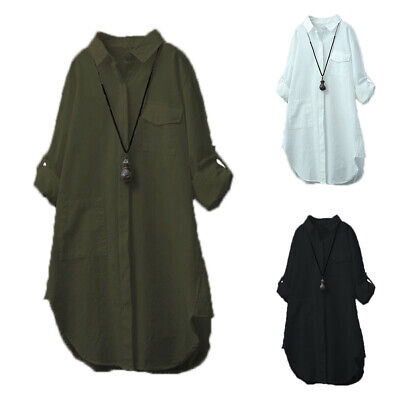 Women Long Sleeve Collared Shirt Button Lady Casual Solid Long Top Blouses Dress