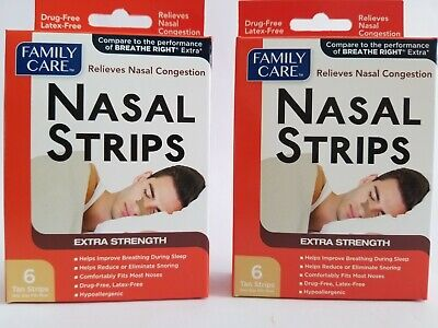 2 Boxes 12 Family Care Extra Strength NASAL STRIPS Relieves Nasal Congestion sno