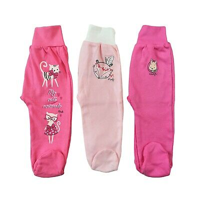 Baby Infant Lovely Girls Trousers with feet 100%Cotton 3-6/9-12/12-18 Months