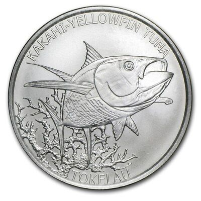 1 once argent silver BU 5$ dollar TOKELAU 2014 KAKAHI YELLOWFIN TUNA thon oz