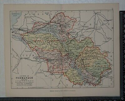 1886 - Map of the County of Fermanagh, Ireland- by Bartholomew / Philip