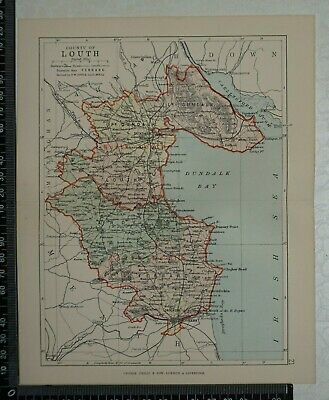 1886 - Map of County of Louth, Ireland- by Bartholomew / Philip