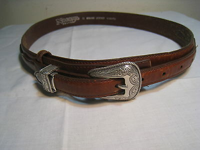 Tooled Silver Tone Metallic Buckle Stitched Leather Belt Nocona #2450702 Size 32