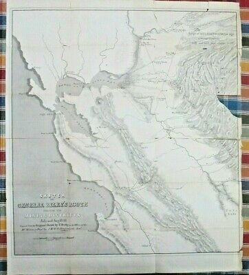 1849 Derby & Hollingsworth - Sketch of General Riley's Route Calif. Mining Map